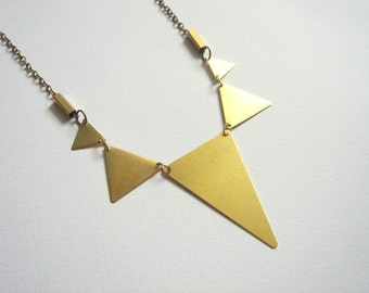 Brass Geometric Necklace, Brass  Triangles Bib,Brass Bunting Necklace,Geometric Jewelry