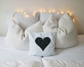Pillow Cover with Black Heart, Pillow Case, Bedding