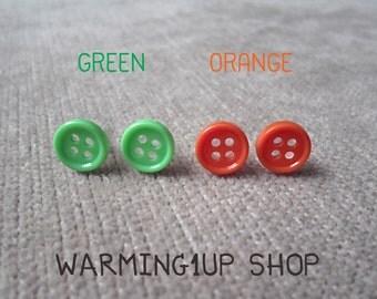Tiny Button Earrings (Set: Green & Orange)