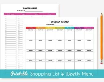 Printable Weekly Menu Planner & Shopping List Package