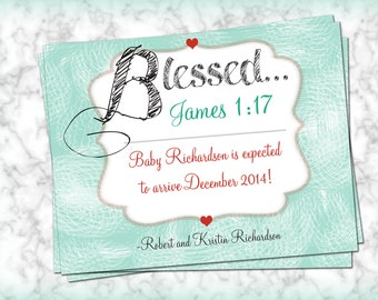 Pregnancy Announcement Cards | BLESSED  (4 Cards with Envelopes)