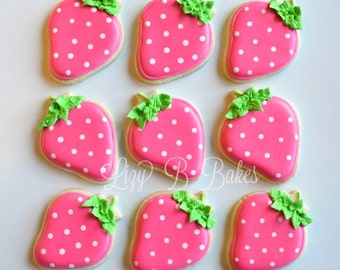 24  Bright Pink Strawberry Cookies