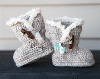Free Crochet Pattern Baby Ugg Booties : Snuggle baby boots Etsy