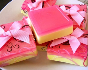Peach Plumeria Glycerin Soap/ Homemade Soap/ Fruity Soap/ Floral Soap/ Vegan Soap/ Summer Soap