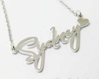 New Personalized Jewelry 925 Silver Name Plates Pendant Initial Necklace Birthday Special Gift Custom Made Jewelry with Script Font