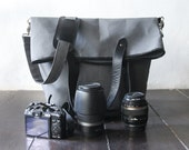 Dslr Fold Over Camera Bag with Insert - waxed canvas messenger - tote bag - waxed canvas with black leather trimming - UNiSEX - Grey