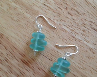 Aqua beach glass earrings.