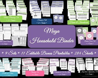 Household Binder Printables Home Binder Cover Organisation Family Planner Mega Day Planner Pdf Printable Chevron Printable Perpetual Planner