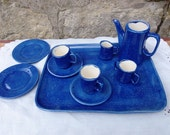 Children's 10 Piece Blue Speckled Ceramic Coffee/Tea Pot PlaySet by Fall Creek Ceramics