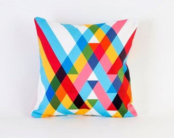 Ribbons Overlay Throw Pillowcases By Pencil Me In // Stripes Rainbow Blue Red Yellow