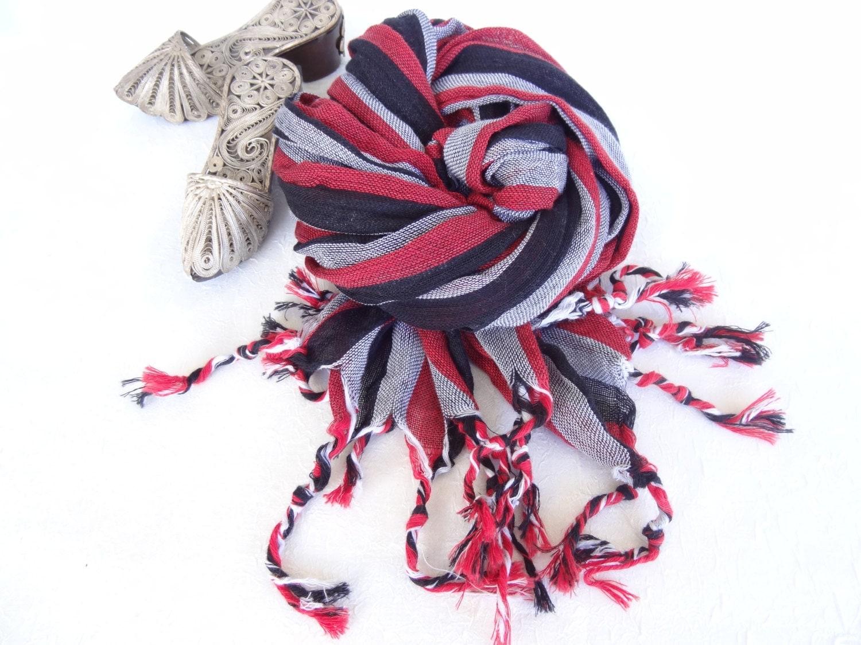 handwoven multicolored scarf blackgreyredstriped scarves