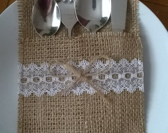 50  Burlap Silverware Holders with White Lace and One Bows , Rustic Wedding