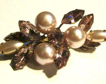 Vintage mid century PEARL and RHINESTONE BROOCH jewelry pin