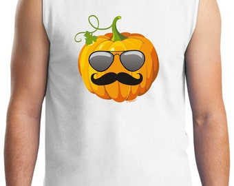 Aviators and Mustache Jack O'Lantern Halloween Sleeveless  T-Shirt 2700 - HW-129