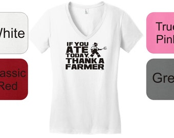 If You Ate Today Thank a Farmer Junior's V-Neck T-Shirt DT6501 - OC-194