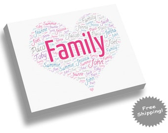 Family Canvas Print - Family Names - Word Collage - Word Cloud - Heart Shape