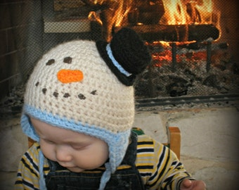 Crocheted Snowman Hat // Winter Hat // Infant, Children's, and Adult Sized Hat // Winter Style // Christmas Gift // Photo Prop