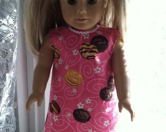 Girl Scout Cookie in bright pink dress for 18 inch dolls