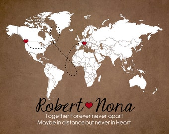 Long Distance Relationship Gift Map, Brown, Red and White  Art Print, Custom Engagement Anniversary Gift, Deployment Gift
