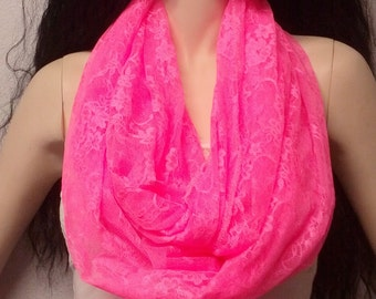 NEON Hot Pink   Soft Lace Infinity Scarf