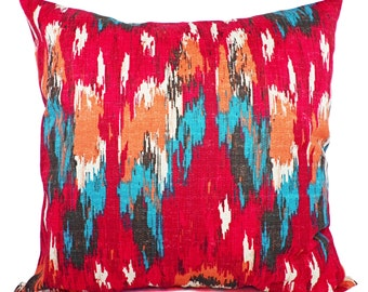 Red Throw Pillow Covers - Two Red and Blue Pillow Covers - 18 x 18 Inch Pillow -  Red Throw Pillow - Accent Pillow - Couch Pillow Cover