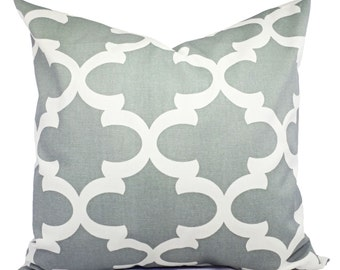Throw Pillow Covers Cool Grey and White - Grey Decorative Pillow - Grey Quatrefoil Pillow - Accent Pillow -  Moroccan Tile - Grey Pillows
