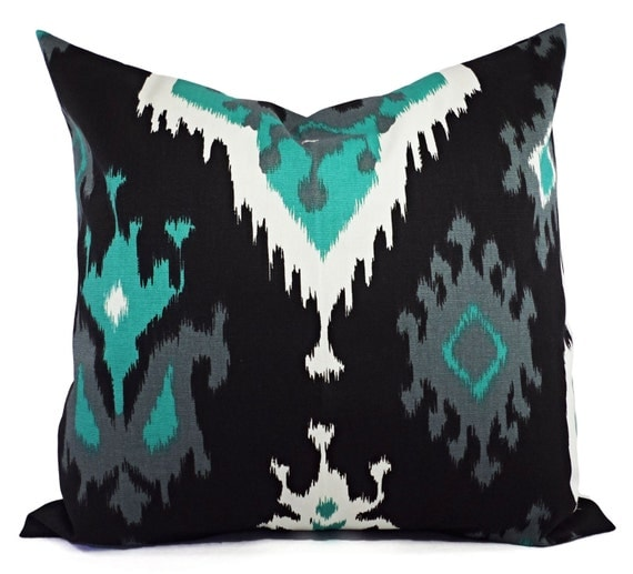 Decorative Pillow Covers Jade Green Black and by CastawayCoveDecor