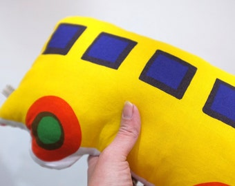 cushion - yellow bus /  yellow blue red green Marimekko cotton fabric / eco recycled stuffing / boy or girl / baby toddler child tween teen