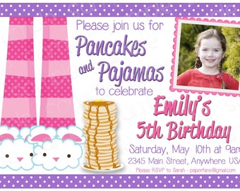 Pancakes & Pajamas Customizable Birthday Invitation -- with or without picture!
