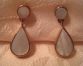 Vintage Two In One Mother Of Pearl Convertible Earrings