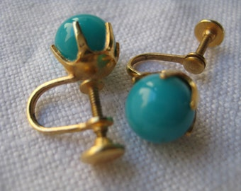 Vintage Turquoise Colored Bead Earrings