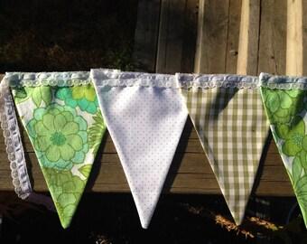 Handmade bunting - gorgeous greens