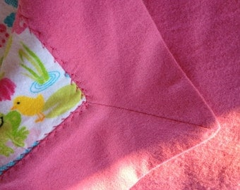 sale,I took 3 dollars off this warm receiving blanket pink and green  cute frog print