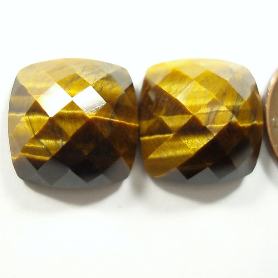 faceted TIGER EYE 14.29 carats square cushion cut gemstone cabochon earring PAIR
