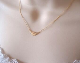 Tiny gold leaf necklace..dainty handmade necklace, everyday, simple, birthday, wedding, bridesmaid jewelry, wedding