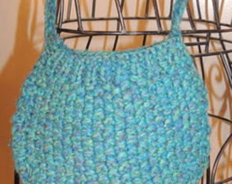 Item # P000063 Vintage Turquoise Multi-Colored  Small Knitted Cross Body Hobo Pouch Purse Bag