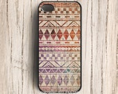 Galaxy Tribal on Wood iphone 5 case,Navajo Aztec iphone 4s case, geometric iphone 4 cover, hard plastic case
