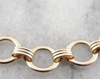 Retro Era Link Bracelet in Fine Gold, Simple Circle Motif - H9TLLW-N