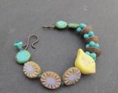 Little bird bracelet, polymer beaded bracelet, knotted bracelet