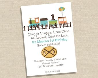 Birthday Invitation - Train Birthday Invitation - Choo Choo Birthday Party - Train Party Invitation - All Aboard Birthday Party