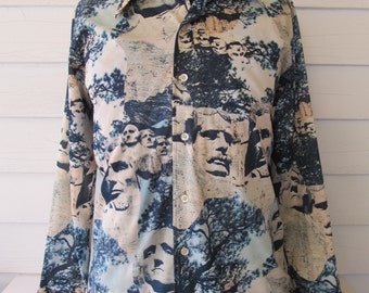 Vintage 70's Picture Shirt MT RUSHMORE Size Large By Donegal