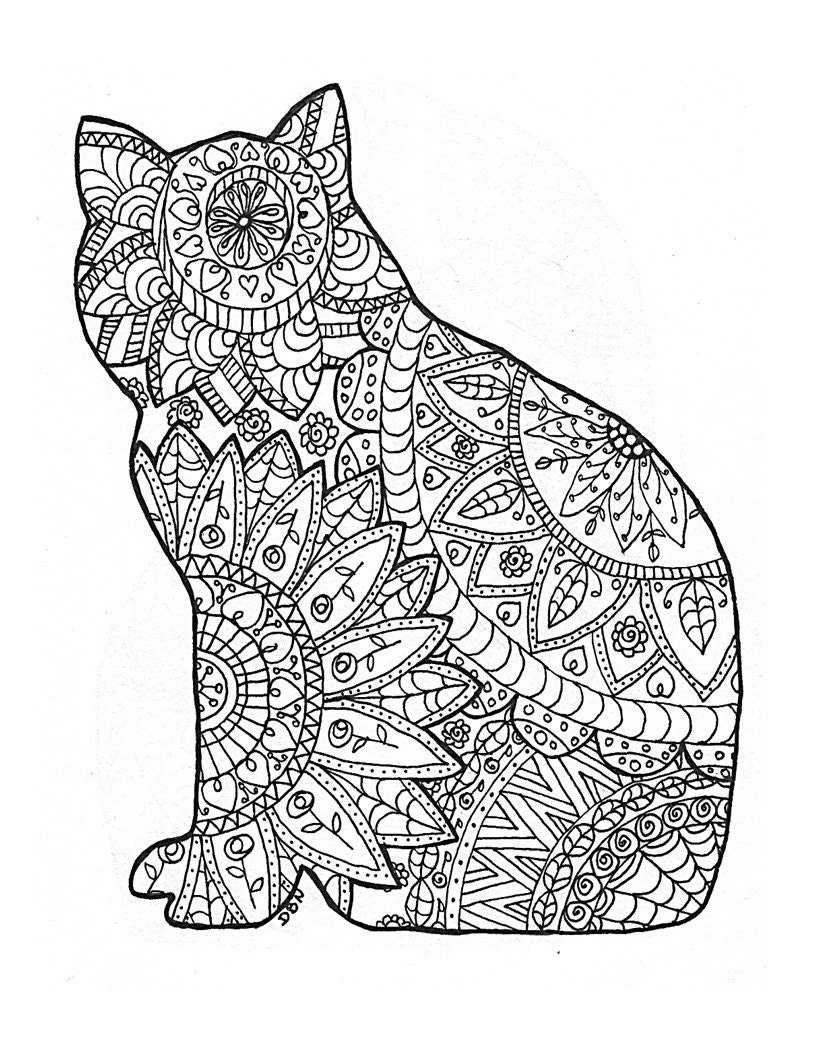 Cat Coloring Page to Print and