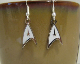 Star Trek Delta Shield with Command Symbol Fish Hook Earrings