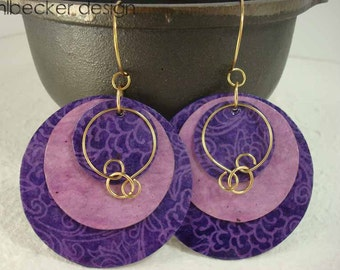 Purple and Mulberry Paper Earrings