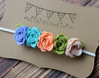 Felt flower garland headband  - felt flower headband - newborn/baby/toddler headband - photo prop