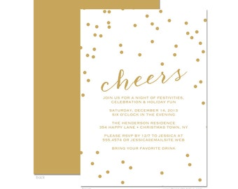 Gold Confetti & Cheers Holiday Party Invitations - DIY Printable or Printed Invitations
