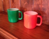 Vintage Glasbake Mugs Red and Green Set of 2
