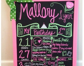 First birthday chalkboard Lime Green And Pink Birthday Chalkboard Sign