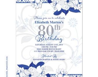 Wild Rose Adult 80th Birthday Invitations Royal Blue White Printed