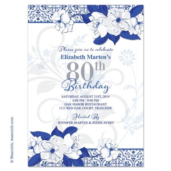 Wild Rose Adult 80th Birthday Invitations Royal Blue White – Blue Birthday Invitations